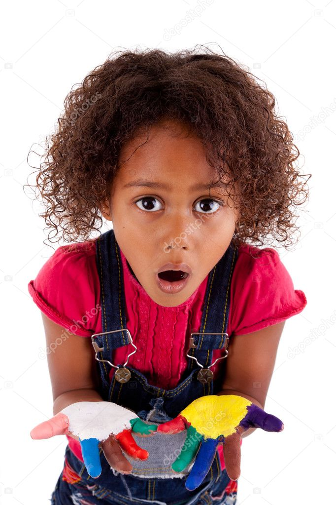 Little African Asian girl with painted hands in colorful paints  Stock Photo #7166621