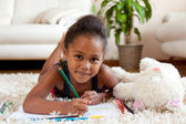 Little African Asian girl drawing — Stock Photo