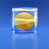 Munt door waardigheid in een dollar in het blok van ijs — Stockfoto