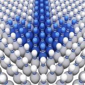 Bleu quilles comme un pointeur. illustration 3d — Photo