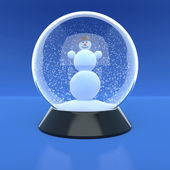 Snowman in a glass ball in snow weather — Stock Photo