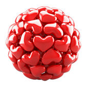 Ball from red hearts — Stock Photo