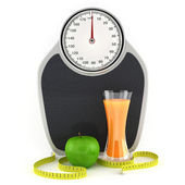 Scales, juice, apple and measuring tape — Stock Photo