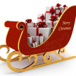 Christmas sleigh with white presents - Stock Photo