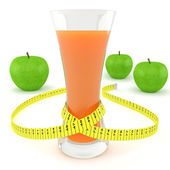 Glass of juice, apples and measuring tape — Stock Photo