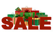 Christmas bags and boxes with a word Sale — Stock Photo