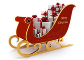 Christmas sleigh with white presents — Stock Photo