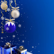 Postcard - Christmas baubles and gifts. — Stock Photo