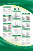 Vector template of 2012 calendar on green background — Stock Vector