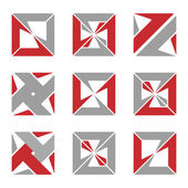 Set of different abstract square symbols for design — Stock Vector