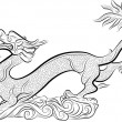 Old Chinese Traditional Dragon — Vector de stock