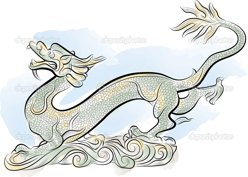 Old Chinese Traditional Dragon, vector illustration — Stock Vector #7668376