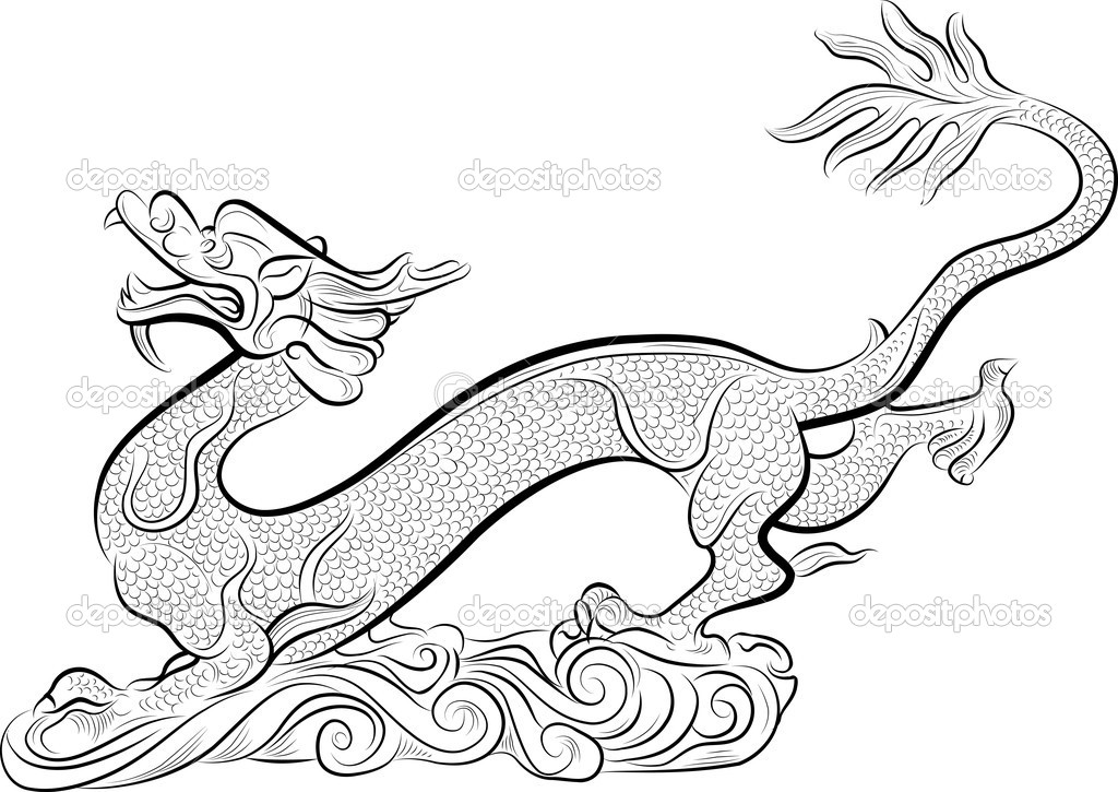 Old Chinese Traditional Dragon, vector illustration  Stock Vector #7668379