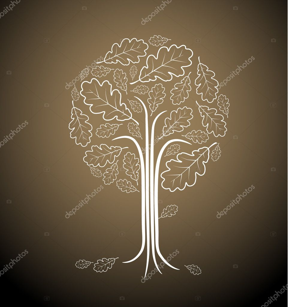 Vintage abstract tree drawing made from oak leafs  — Stock Vector #6766363