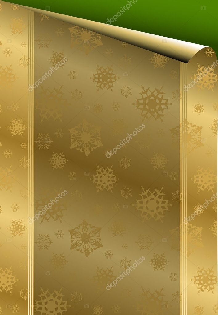 Christmas card with golden paper on green background  — Stock Vector #6766392