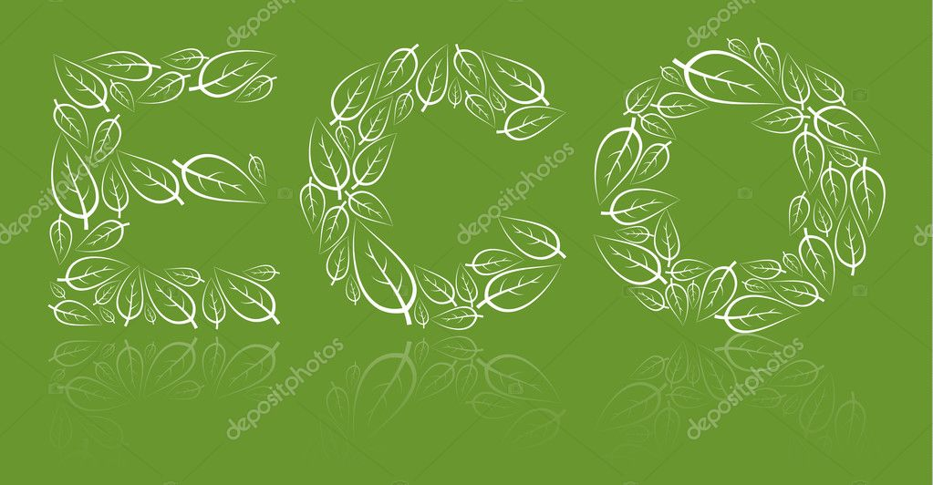 Eco lettering made from white leafs on green  background   Stock Vector #6766396