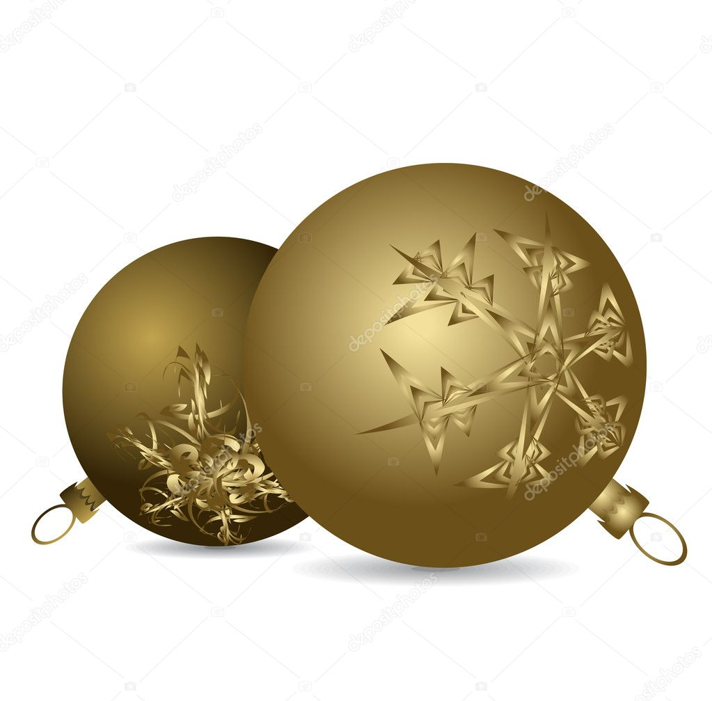 Golden Christmas bulbs with snowflakes ornaments on a white background — Stock Vector #6766407