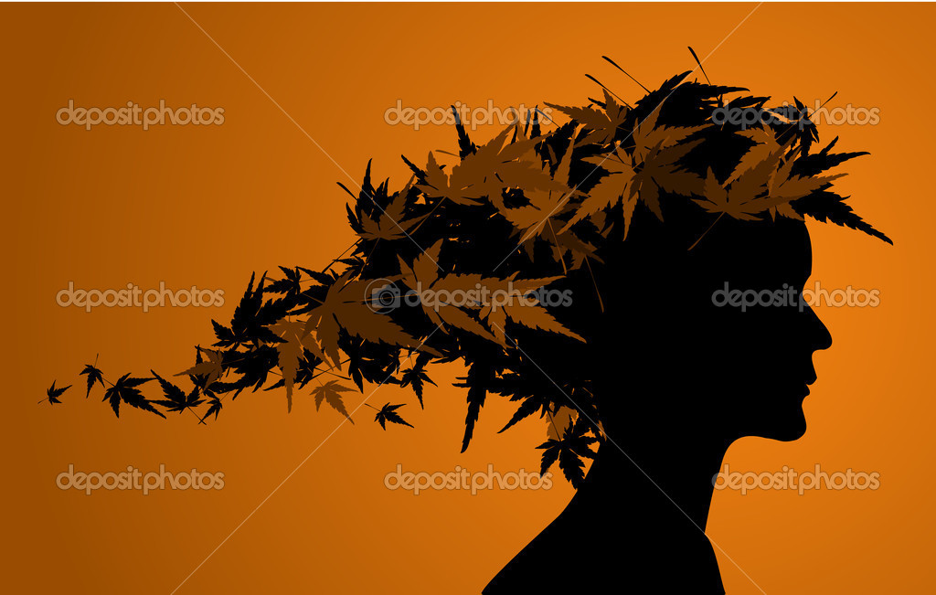 Autumn floral girl silhouette (with hair from leafs)   Stock Vector #6766428