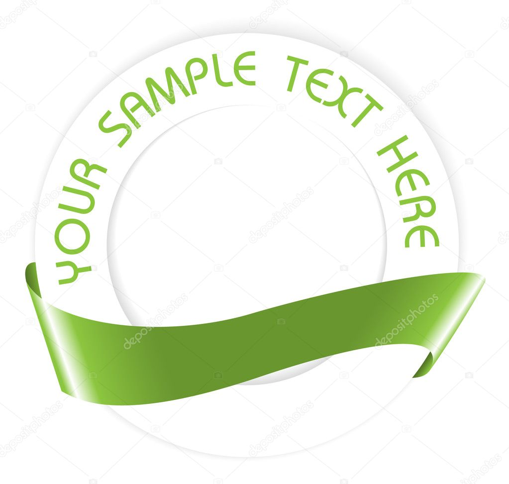 Simple green empty seal or medallion with ribbon  — Stock Vector #6766444