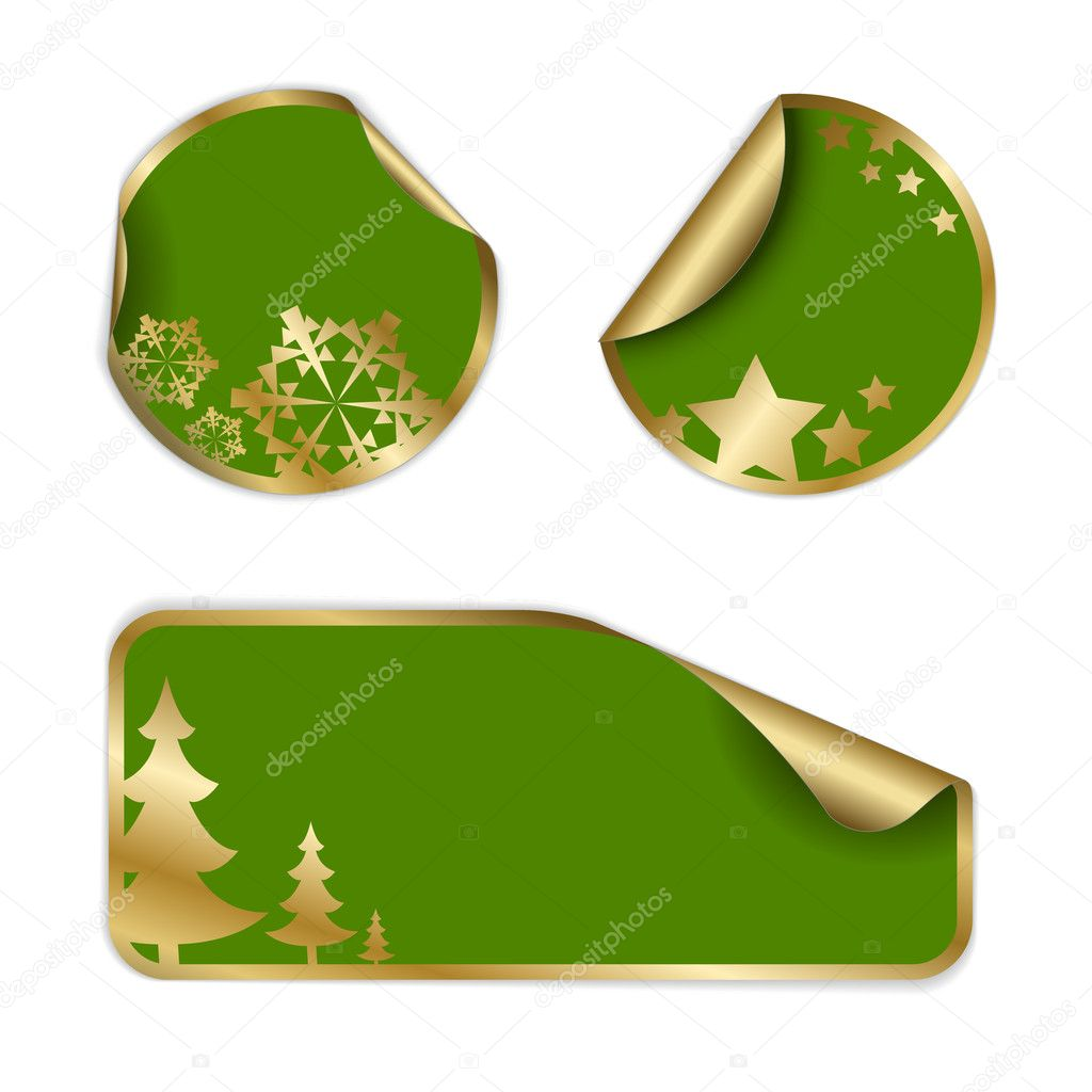 Christmas labels and stickers (golden and green) — Stock Vector #6766451