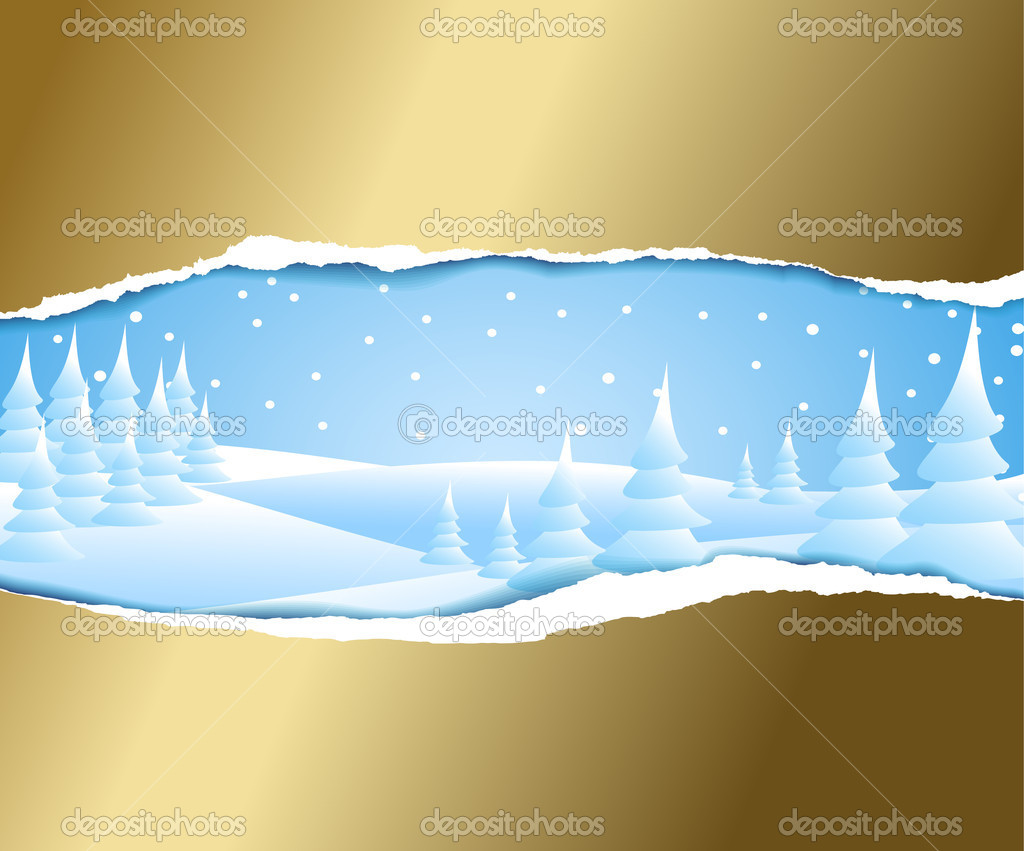 Christmas card with snowy winter landscape  Stock Vector #6766456