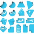 Set of blue labels badges and stickers - Stock Vector