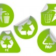 Set of green recycle labels badges and stickers - 图库矢量图片