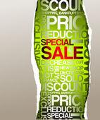 Anuncio de descuento venta verde — Vector de stock