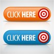 Big blue and orange click here buttons - Stock Vector
