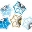 Stock Vector: Snow flakes as labels