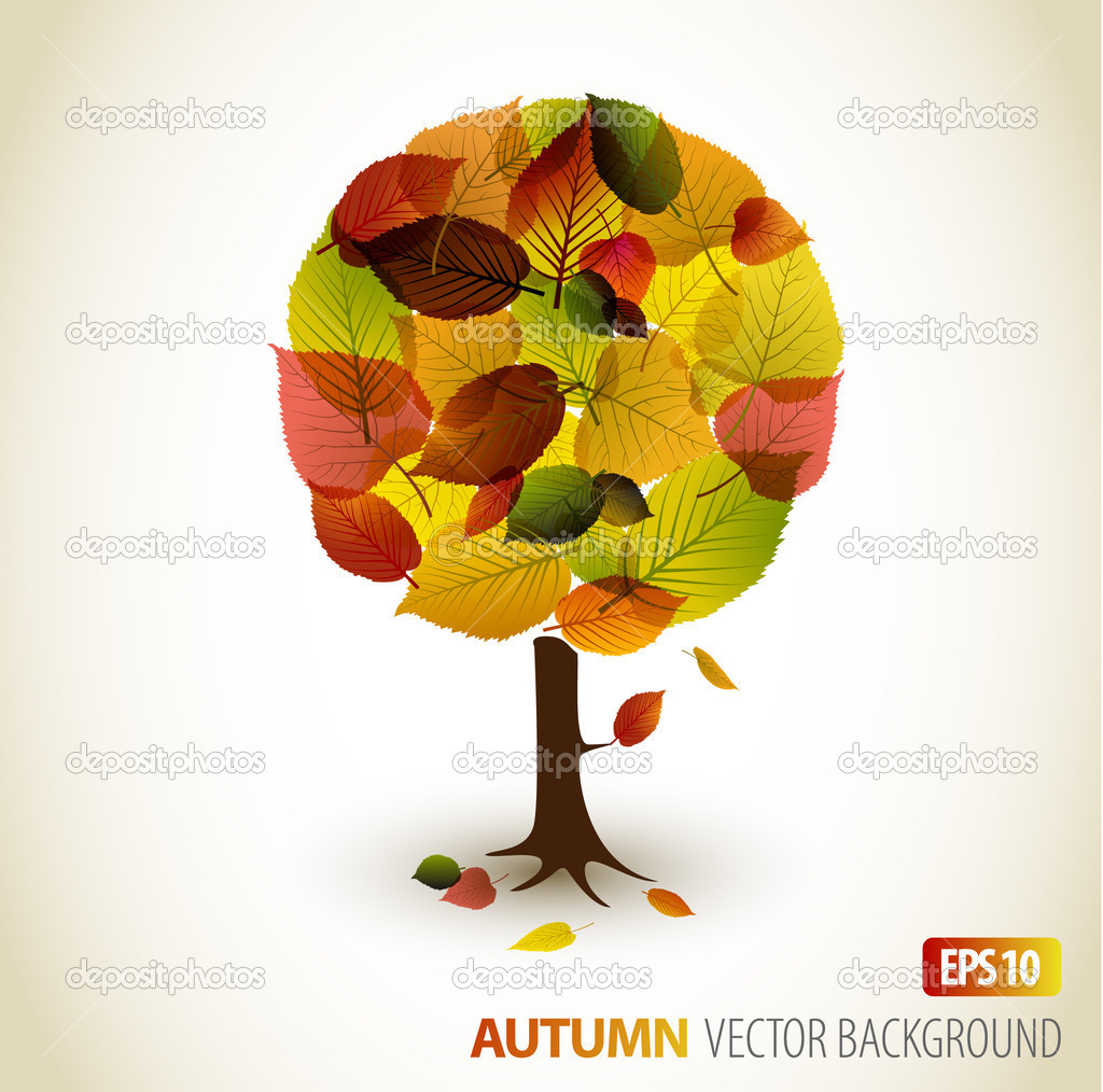 Abstract Vector autumn tree illustration - made from colorful leafs — ベクター素材ストック #6858263