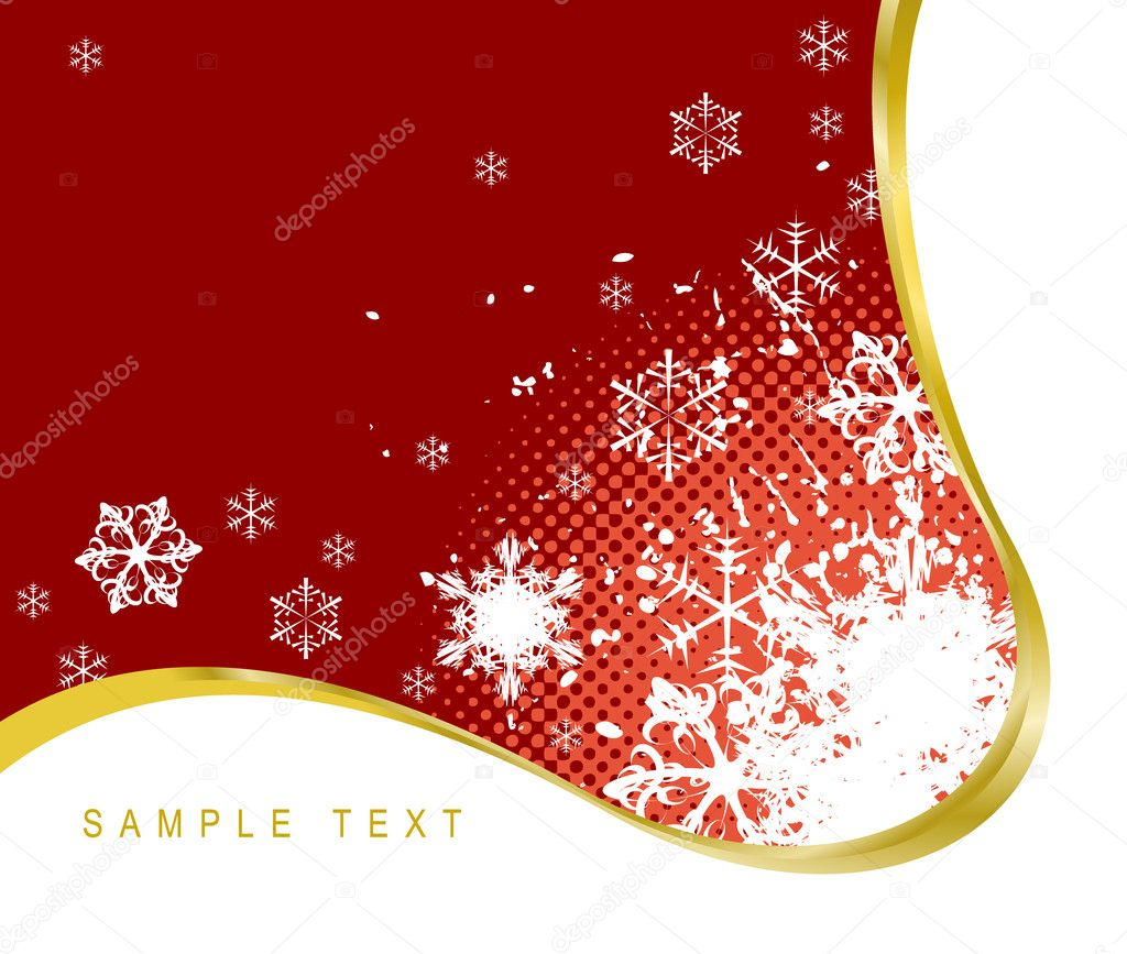 Red Christmas background with snowflakes and golden ribbon — Stock Vector #6859735