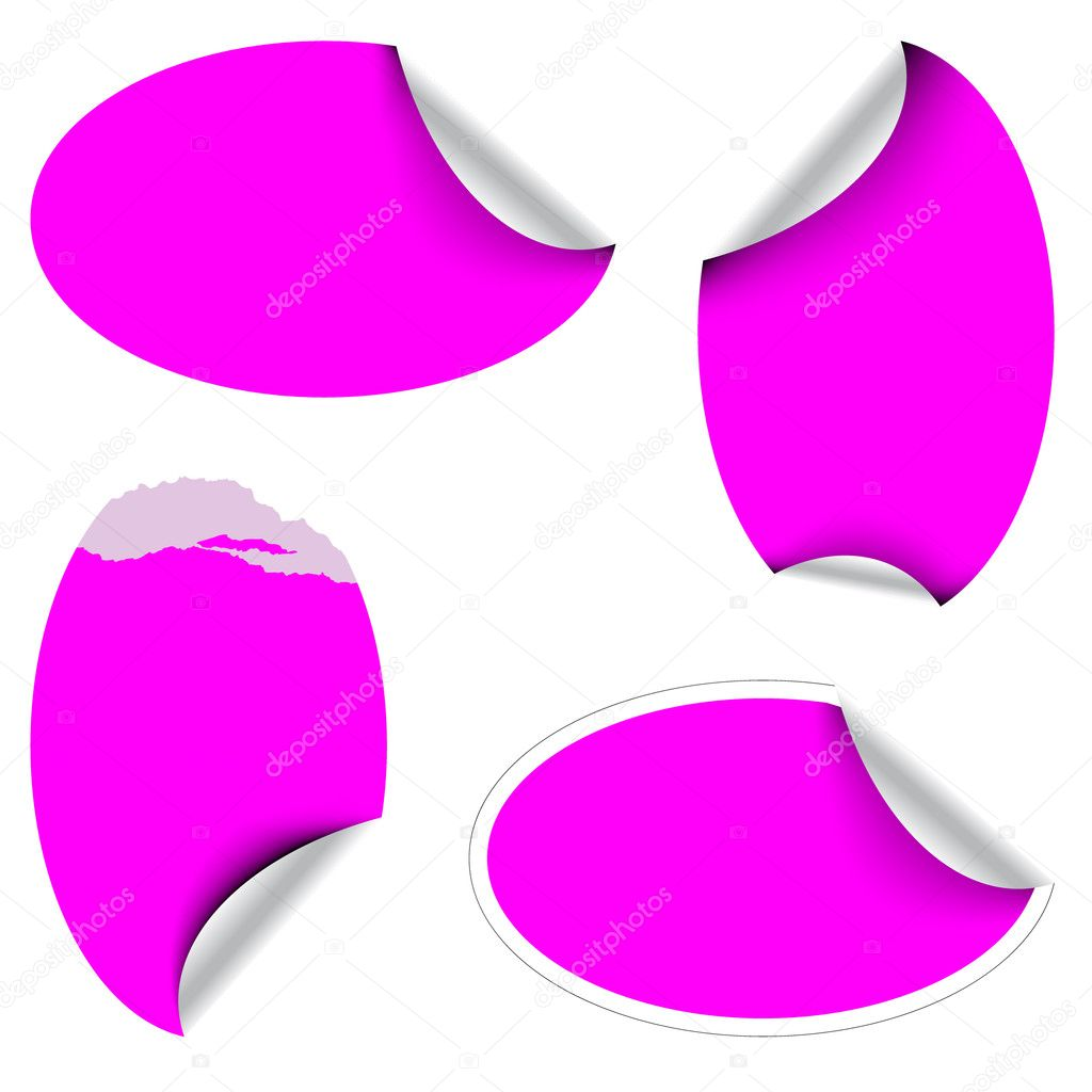Pink oval labels badges and stickers — Stock Vector #6859777