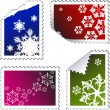 Set of christmas post stamps — Stock Vector