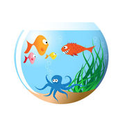 Various fishes in aquarium — Stock Vector