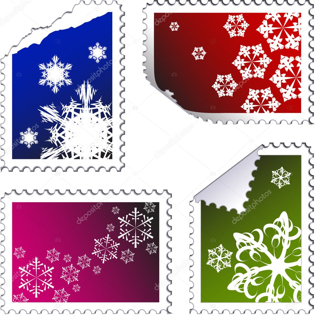 Set of christmas post stamps on a white background — Stock Vector #6860552