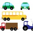 Stock Vector: Set of vehicles - car, bus, tractor