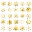 Stock Vector: Golden snowflakes isolated