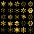 Golden snowflakes — Stock Vector
