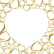 Stock Vector: Background with golden hearts