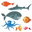 Stock Vector: Set of various sea animals