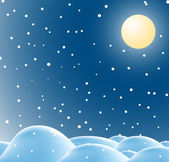 Winter christmas landscape in night — Stock Vector