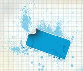 Blue sticker on a grunge background — Stock Vector