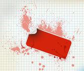 Grunge 背景上的红色贴纸 — 图库矢量图片