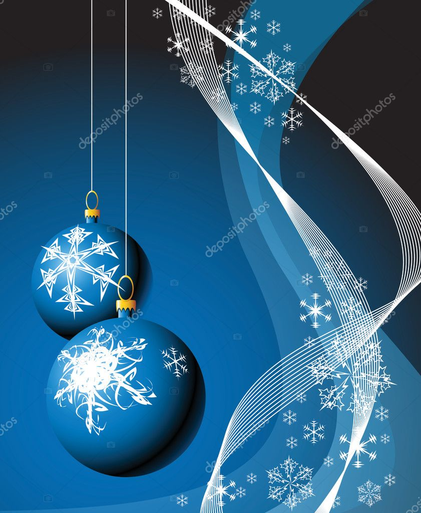 Christmas bulbs with snowflakes on red background — Stock Vector #6871614