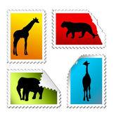 набор сафари почтовых марок — Cтоковый вектор