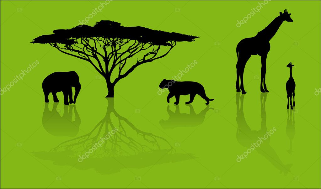 Silhouettes of animals from safari  — Stock Vector #6887791