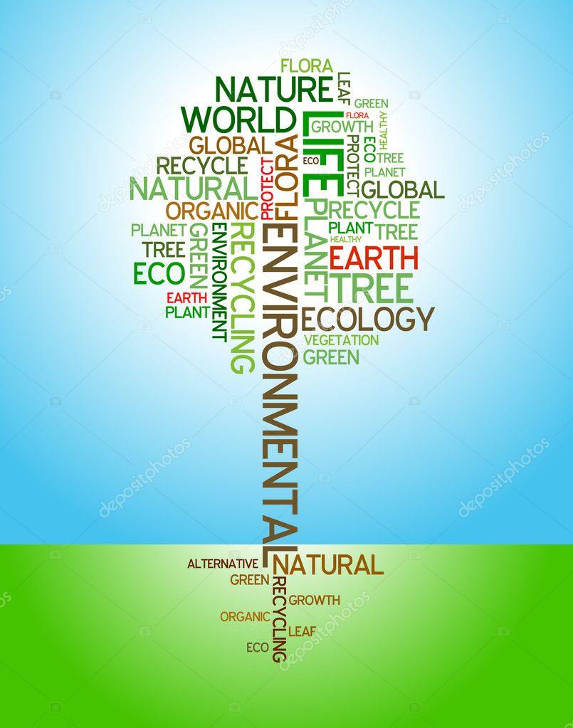 Ecology - environmental poster - stock illustration