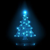 Vector christmas tree from digital circuit — Stock Vector