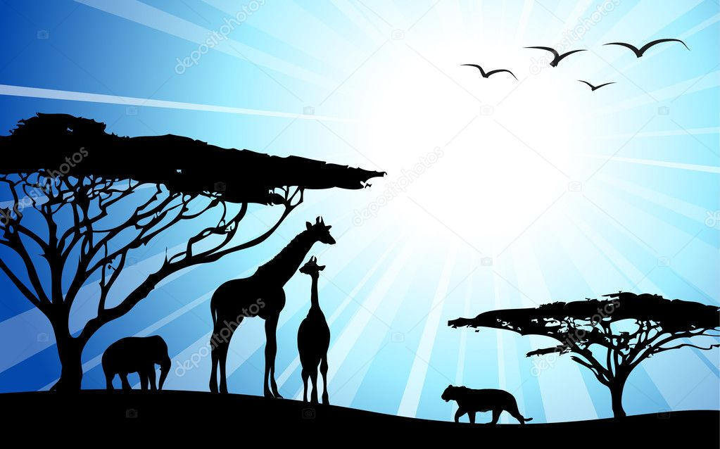 Africa, safari - silhouettes of wild animals in dawn — Stock Vector #6968476
